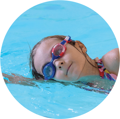 A girl swimming