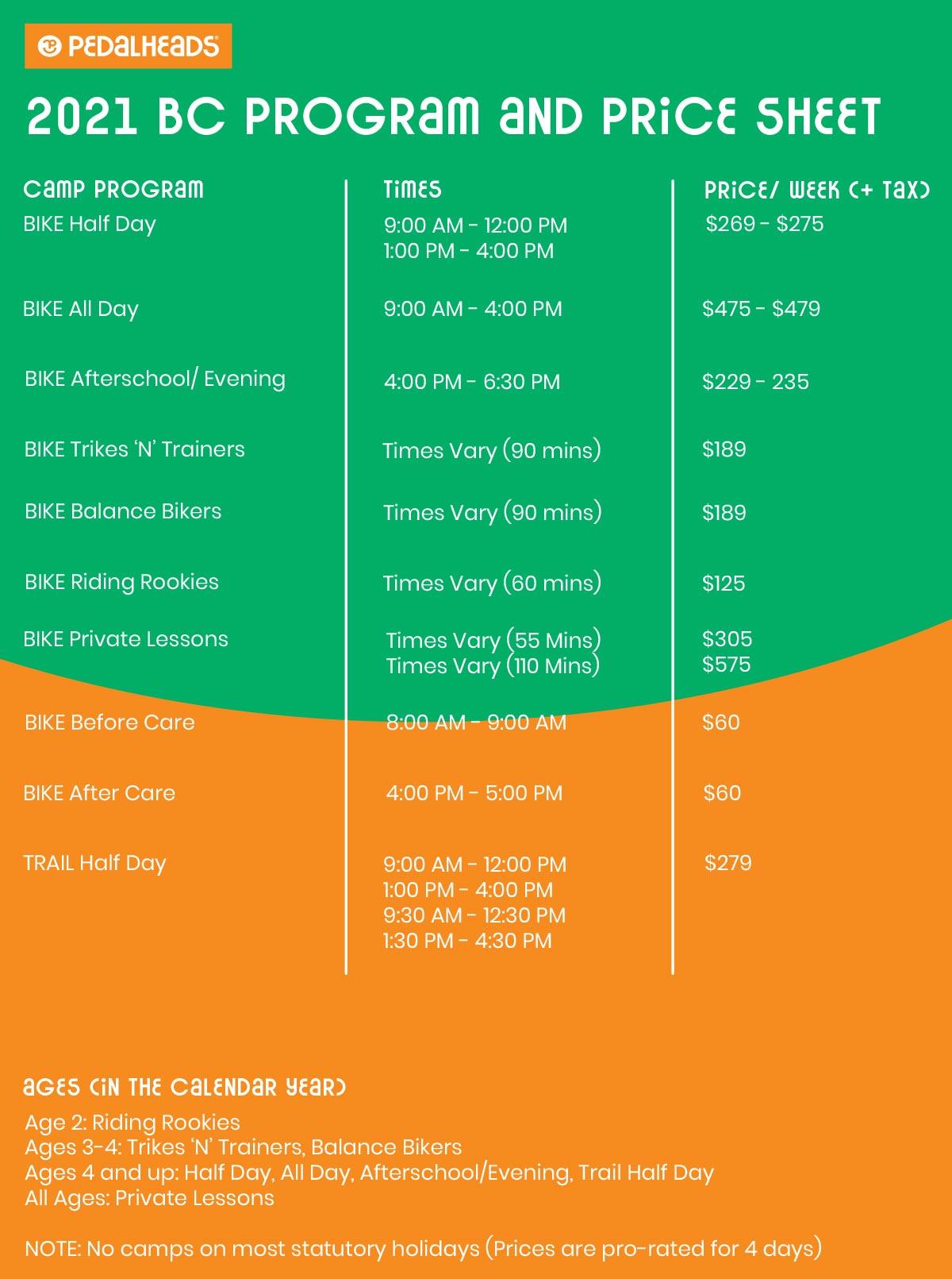 British Columbia Price Sheet