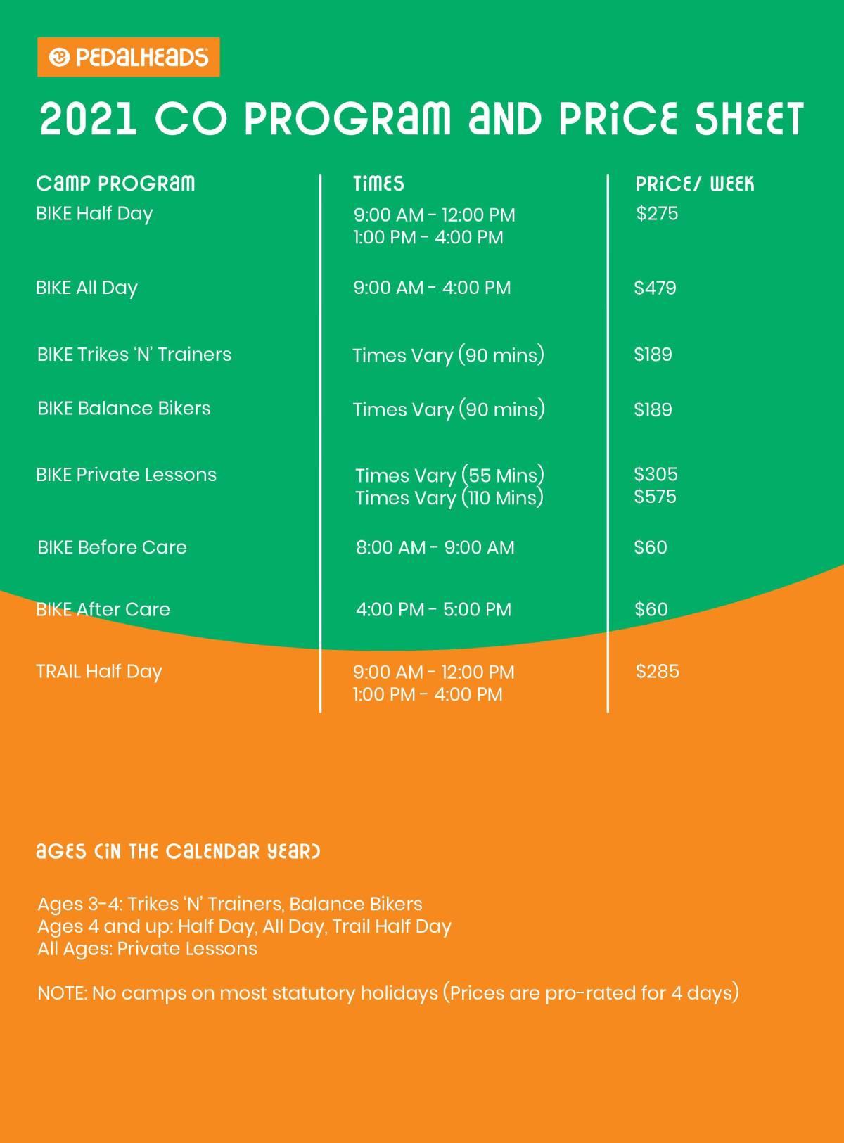 Colorado Price Sheet