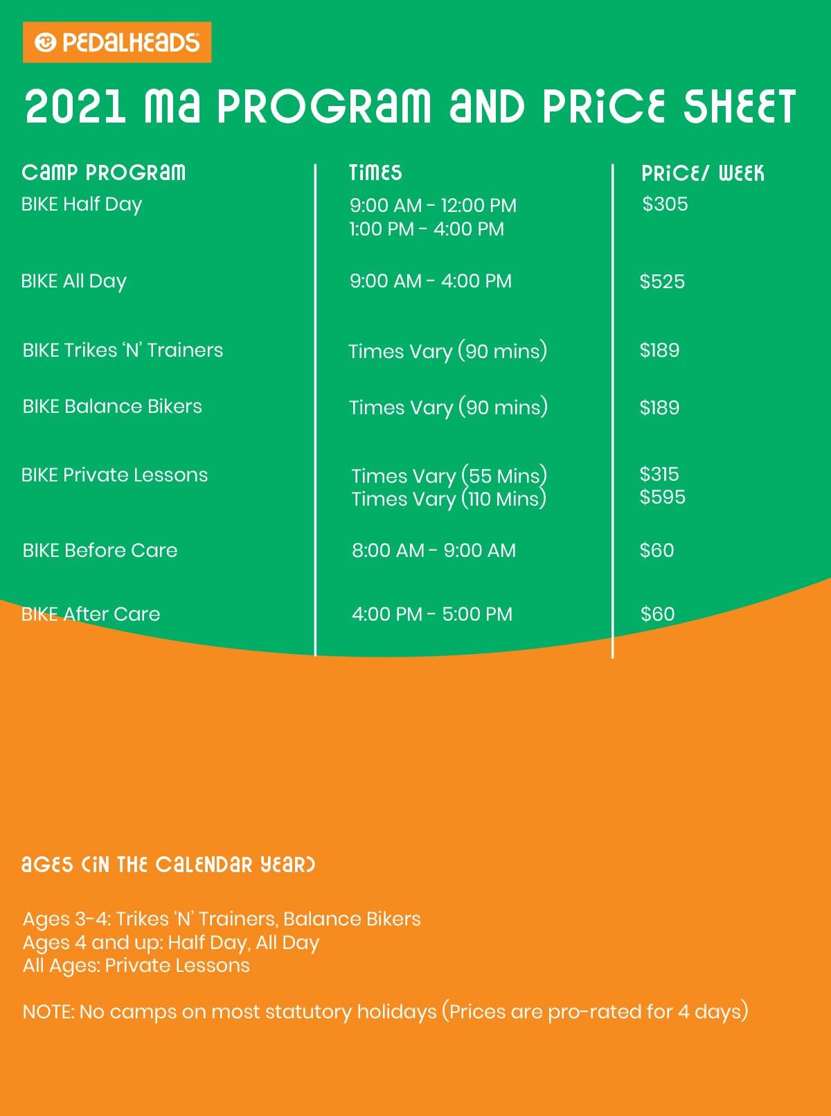 Massachusetts Price Sheet