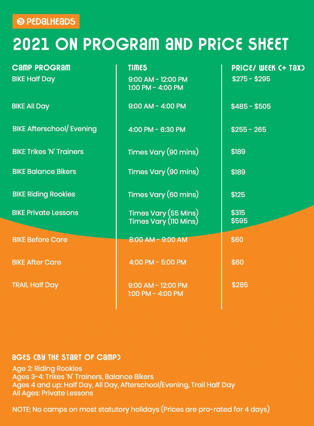 Ontario Price Sheet