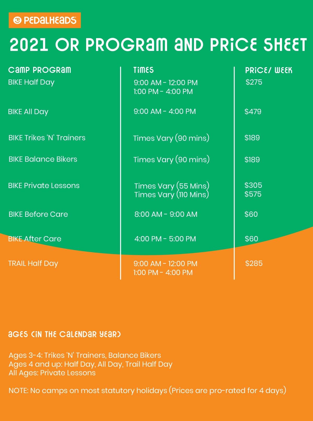 Oregon Price Sheet